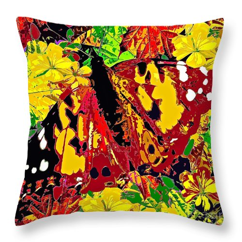 Abstract Butterfly Throw Pillow featuring the painting Abstract Butterfly #3 Autumn by Saundra Myles