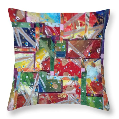 Abstract Throw Pillow featuring the painting Abstract Collages 1 by Sherry Harradence