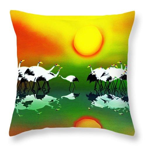 Wildlife Throw Pillow featuring the digital art Abstract Crane Bird V1 by GuoJun Pan