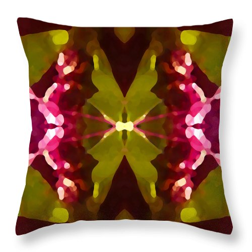 Contemporary Throw Pillow featuring the painting Abstract Crystal Butterfly by Amy Vangsgard