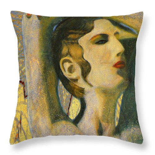 Augusta Stylianou Throw Pillow featuring the digital art Abstract Cyprus Map And Aphrodite by Augusta Stylianou
