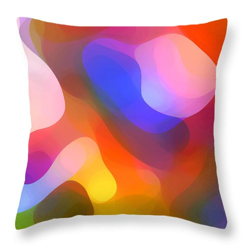 Abstract Art Throw Pillow featuring the painting Abstract Dappled Sunlight by Amy Vangsgard