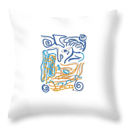 Abstract Throw Pillow featuring the digital art Abstract Digital by Shea Holliman