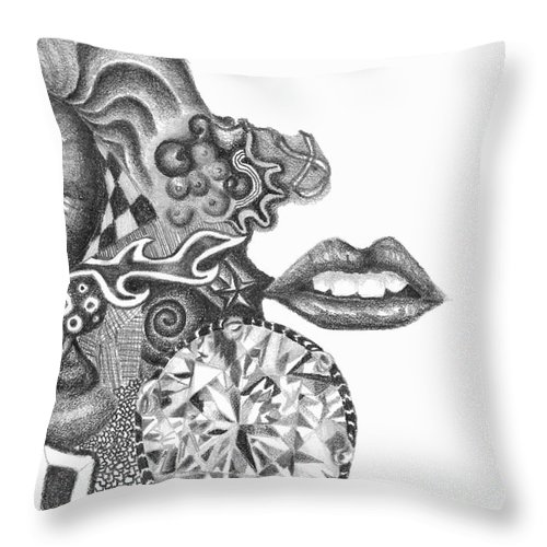 Abstract Throw Pillow featuring the drawing Abstract Drawing #1 - Young Woman by J M Lister