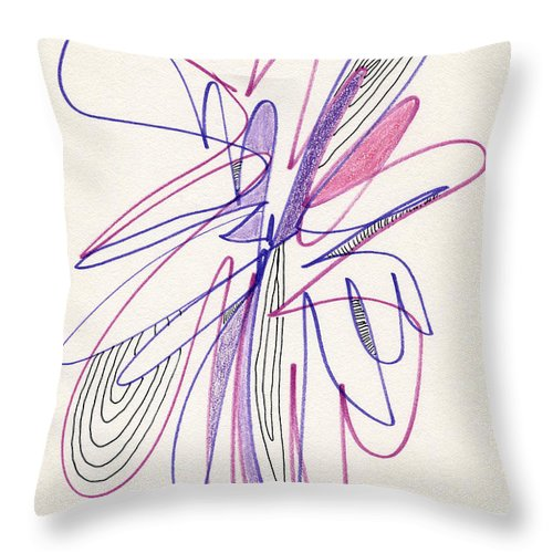 Abstract Throw Pillow featuring the drawing Abstract Drawing Fifty-six by Lynne Taetzsch