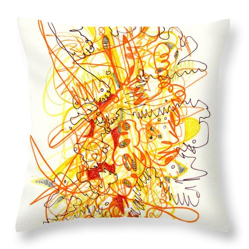 Abstract Throw Pillow featuring the drawing Abstract Drawing Fifty-three by Lynne Taetzsch