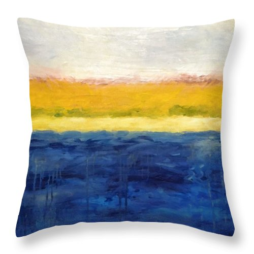 Abstract Landscape Throw Pillow featuring the painting Abstract Dunes With Blue And Gold by Michelle Calkins