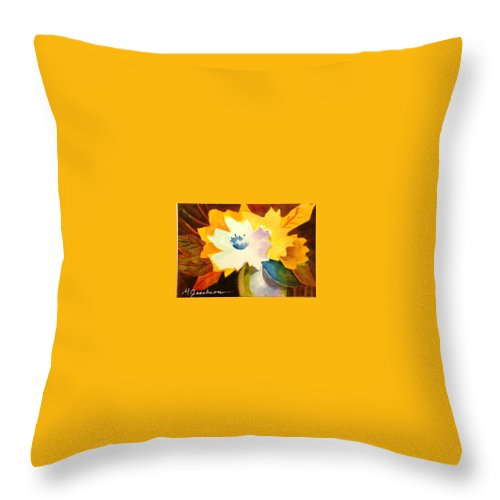 Flowers Throw Pillow featuring the painting Abstract Flowers 2 by Marilyn Jacobson