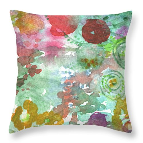 Flowers Throw Pillow featuring the painting Abstract Garden by Linda Woods