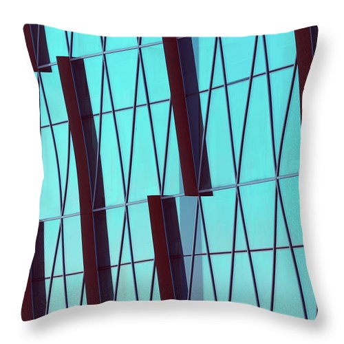 Ceiling Throw Pillow featuring the photograph Abstract Glass Surface With Geometric by Aapsky
