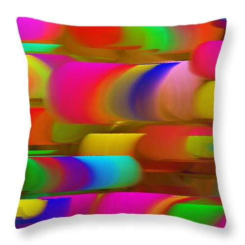 Abstract Throw Pillow featuring the digital art Abstract Hair Curlers Painting by Andee Design