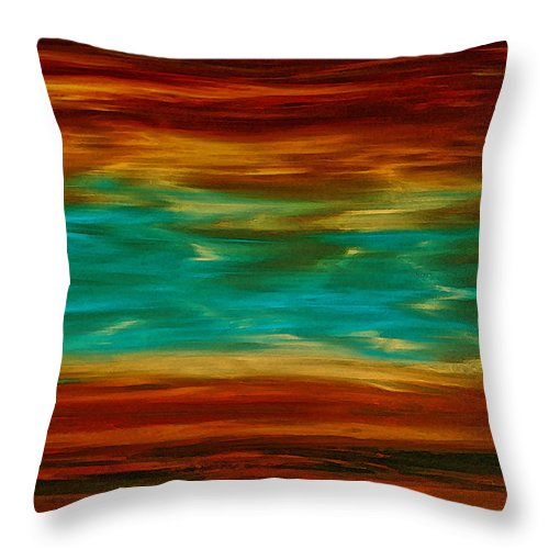 Copper Throw Pillow featuring the painting Abstract Landscape Art - Fire Over Copper Lake - By Sharon Cummings by Sharon Cummings