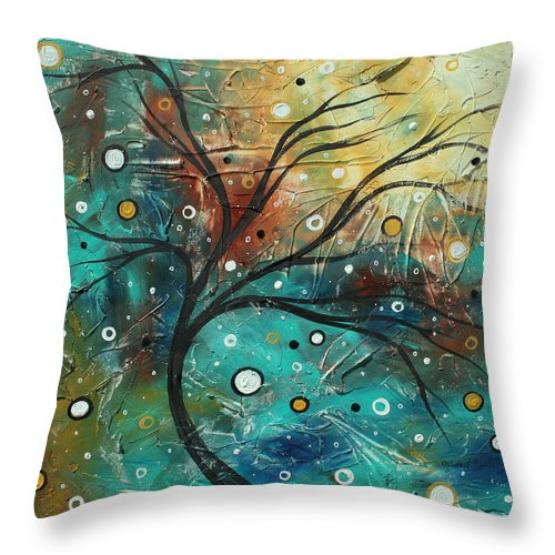 Texture Throw Pillow featuring the painting Abstract Landscape Art Original Colorful Heavy Textured Painting Cracked Facade By Madart by Megan Duncanson