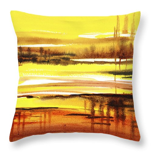 Abstract Throw Pillow featuring the painting Abstract Landscape Reflections I by Irina Sztukowski