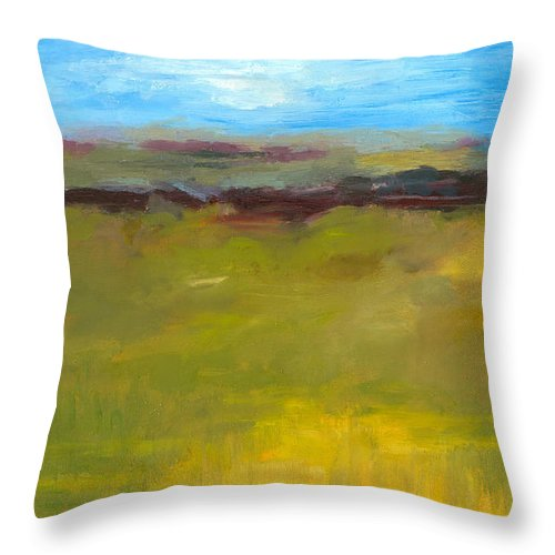 Abstract Expressionism Throw Pillow featuring the painting Abstract Landscape - The Highway Series by Michelle Calkins