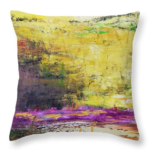 Oil Painting Throw Pillow featuring the photograph Abstract Painted Yellow Art Backgrounds by Ekely