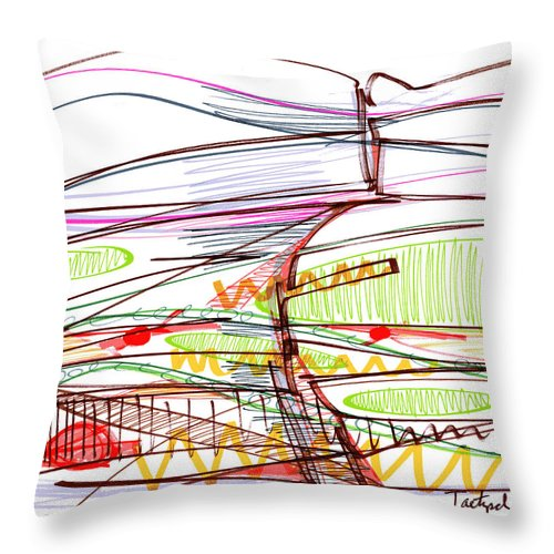 Abstract Throw Pillow featuring the drawing Abstract Pen Drawing Forty-five by Lynne Taetzsch