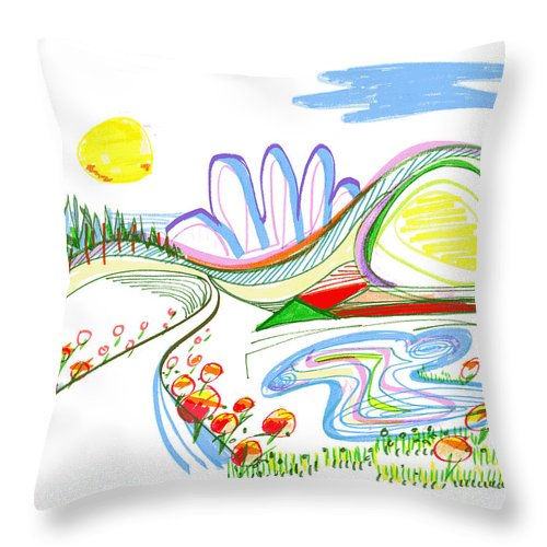 Abstract Throw Pillow featuring the drawing Abstract Pen Drawing Forty-four by Lynne Taetzsch