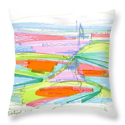 Abstract Throw Pillow featuring the drawing Abstract Pen Drawing Forty-three by Lynne Taetzsch