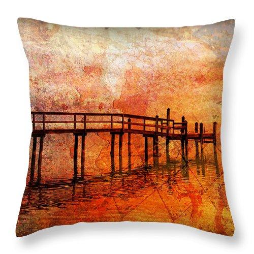 Florida Keys Throw Pillow featuring the photograph Abstract Pier by Ken Reardon