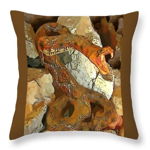 Abstract Rattlesnake Throw Pillow featuring the digital art Abstract Rattlesnake by John Malone