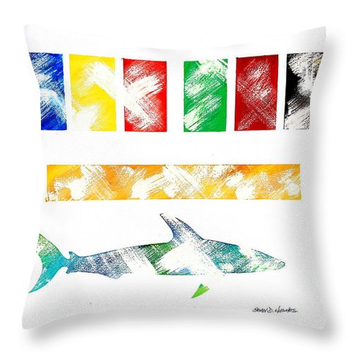 Colors Throw Pillow featuring the painting Abstract Shark by Sean Hughes