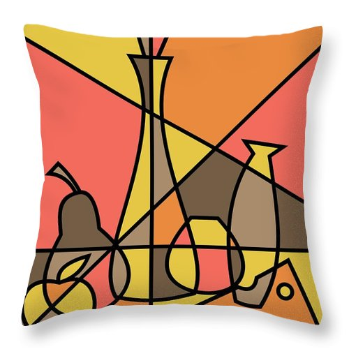 Mid Century Throw Pillow featuring the digital art Abstract Still Life 2 by Donna Mibus