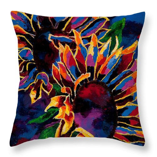 Sunflower Throw Pillow featuring the painting Abstract Sunflowers by Arthur Witulski