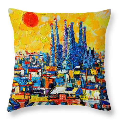 Barcelona Throw Pillow featuring the painting Abstract Sunset Over Sagrada Familia In Barcelona by Ana Maria Edulescu