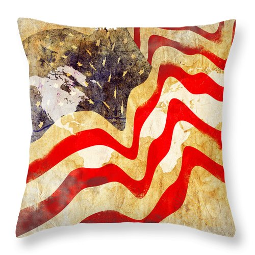 Usa Throw Pillow featuring the painting Abstract Usa Flag by Stefano Senise