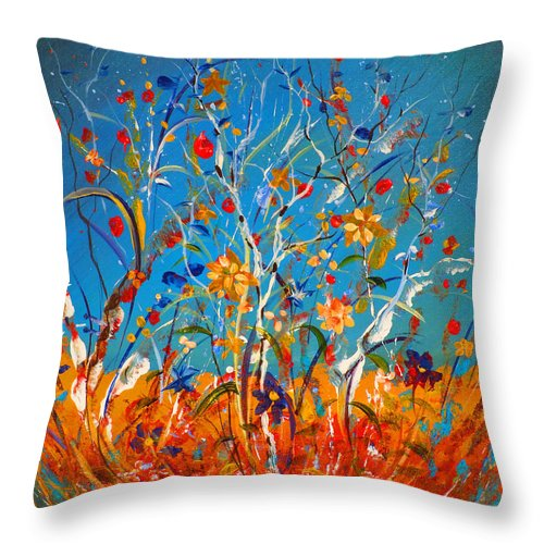 Abstract Throw Pillow featuring the painting Abstract Wildflowers by Anthony DiNicola