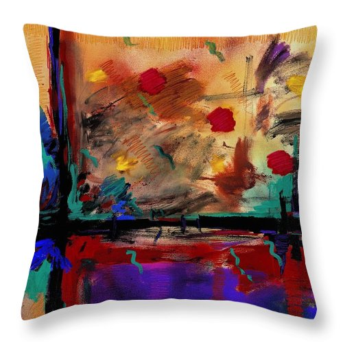 Abstract Throw Pillow featuring the painting Abstract Yellow Horizontal by Dale Moses