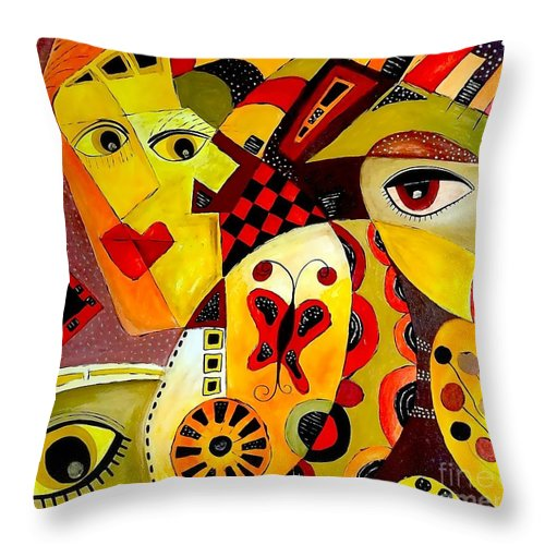 Graphic Throw Pillow featuring the painting Abstraction 673 - Marucii by Marek Lutek