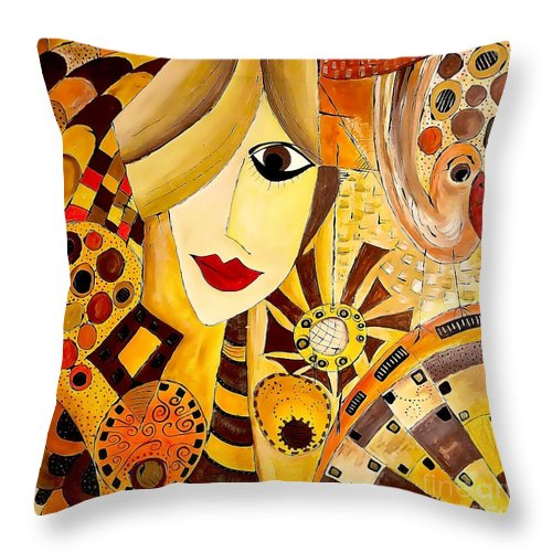 Graphic Throw Pillow featuring the painting Abstraction 676 - Marucii by Marek Lutek