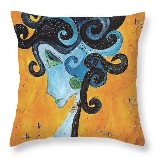 Graphic Throw Pillow featuring the painting Abstraction 699 -marucii by Marek Lutek
