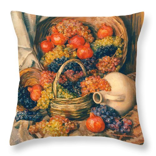 Abundance Of Tastes Throw Pillow featuring the painting Abundance Of Tastes by Meruzhan Khachatryan
