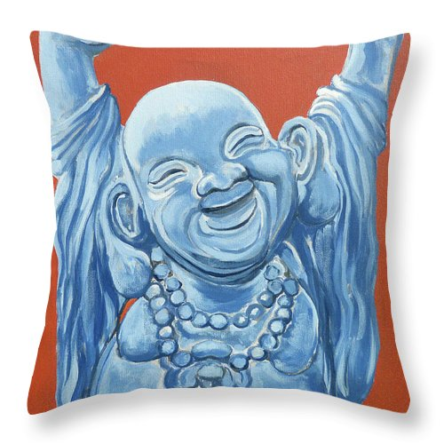 Buddha Throw Pillow featuring the painting Abundance by Tom Roderick