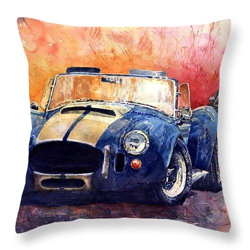 Shevchukart Throw Pillow featuring the painting AC Cobra Shelby 427 by Yuriy Shevchuk