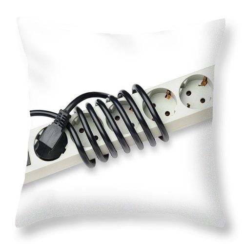 Europe Throw Pillow featuring the photograph Ac Power Plug And Sockets by Alain De Maximy