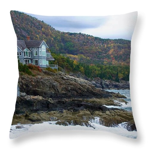 Maine Throw Pillow featuring the photograph Acadia Seaside Mansion by Stuart Litoff