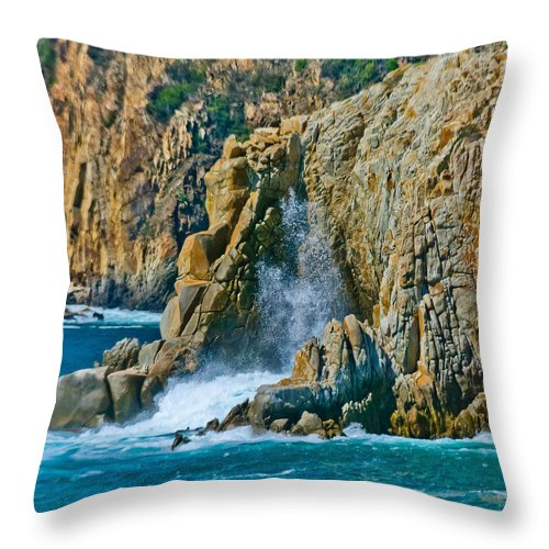 Adventure Throw Pillow featuring the photograph Acapulco Cliffs by Terry Hickey