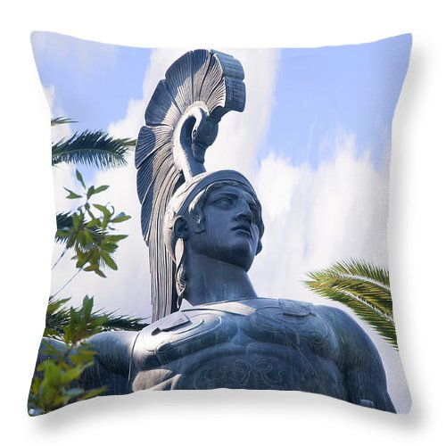 Corfu Throw Pillow featuring the photograph Achilles The Mighty Warrior by Brenda Kean