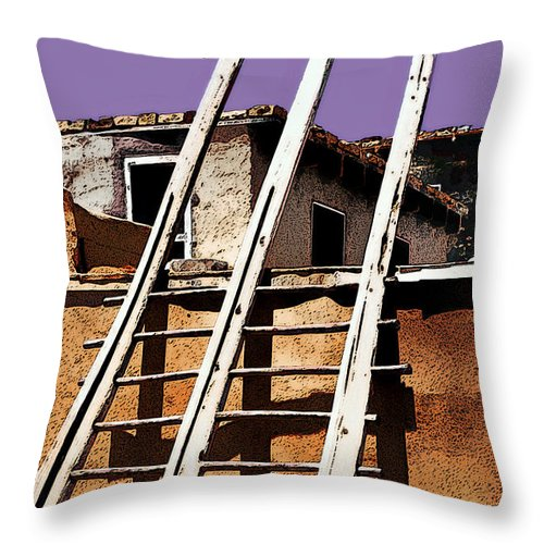 Albuquerque Throw Pillow featuring the photograph Acoma Pueblo by Linda Parker