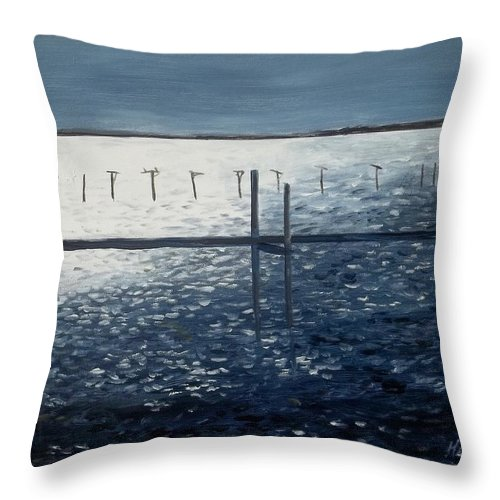 Seascape Throw Pillow featuring the painting Across The Bay At Night by Danny Helms