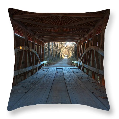 Parke County Indiana Photographs Throw Pillow featuring the photograph Across The Bridge And Through The Woods by Thomas Sellberg