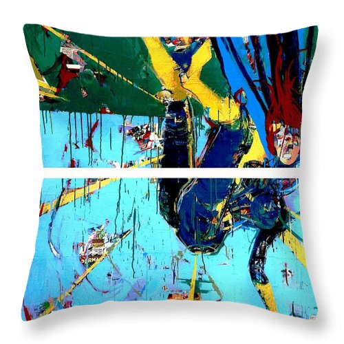 Abstract Art Paintings Throw Pillow featuring the painting Action Abstraction No. 21 by David Leblanc