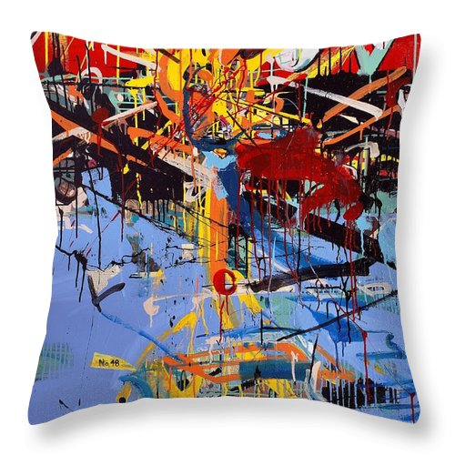 Abstract Art Throw Pillow featuring the painting Action Abstraction No. 6 by David Leblanc