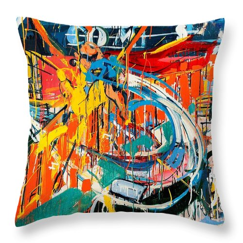 Abstract Art Throw Pillow featuring the painting Action Abstraction No. 7 by David Leblanc