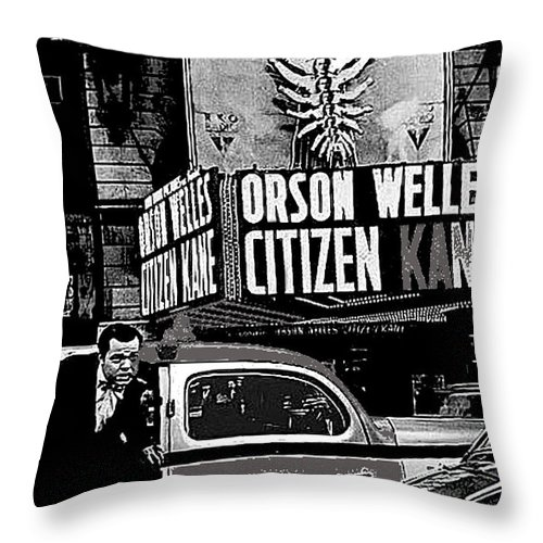 Actor Co-writer Director Orson Welles Premier Citizen Kane Palace Theater New York May 1 1941 Throw Pillow featuring the photograph Actor Co-writer Director Orson Welles Premier Citizen Kane Palace Theater New York May 1 1941-2014 by David Lee Guss