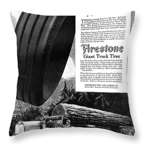 1918 Throw Pillow featuring the painting Ad Firestone, 1918 by Granger